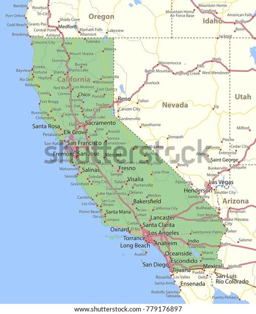 California Map Shows State Borders Urban Arkistovektori