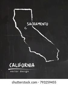 California map, vector drawing on blackboard