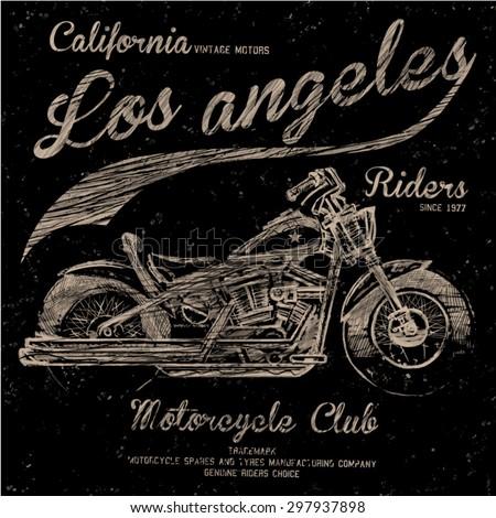 california motorcycle illustration tee