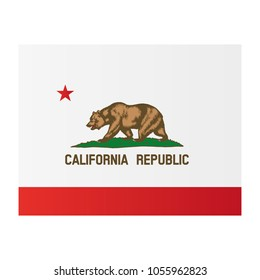 California national flag on white background texture. Vector illustration state symbol.