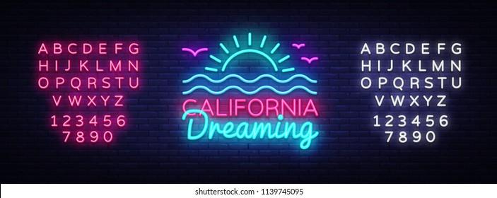 California neon sign vector. California Dreaming Design template neon sign, summer light banner, neon signboard, nightly bright advertising, light inscription. Vector. Editing text neon sign