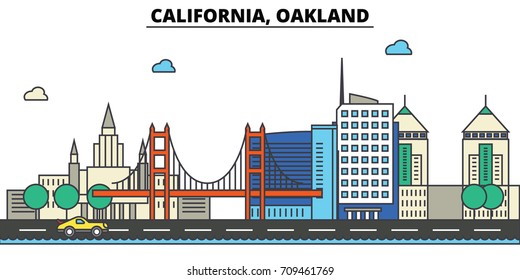 California, Oakland.City skyline: architecture, buildings, streets, silhouette, landscape, panorama, landmarks, icons. Editable strokes. Flat design line vector illustration concept.