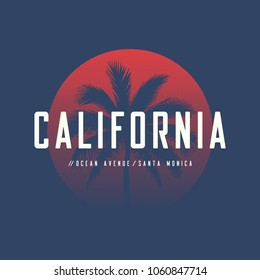 California Ocean Avenue t-shirt and apparel design with palm tree and halftoned sun, vector illustration, typography, print, logo, poster. Global swatches.