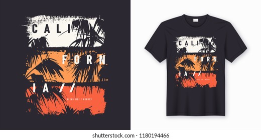 9ae9e81b9 California Ocean side stylish t-shirt and apparel trendy design with palm  trees silhouettes,