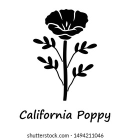 California poppy glyph icon. Papaver rhoeas with name inscription. Corn rose blooming wildflower. Herbaceous plants. Field common poppy. Silhouette symbol. Negative space. Vector isolated illustration