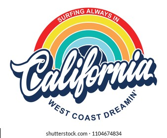 california rainbow retro print dedign