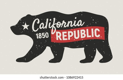 California Republic bear. Vintage poster. Print for T-shirt, typography. Retro style.Vector illustration