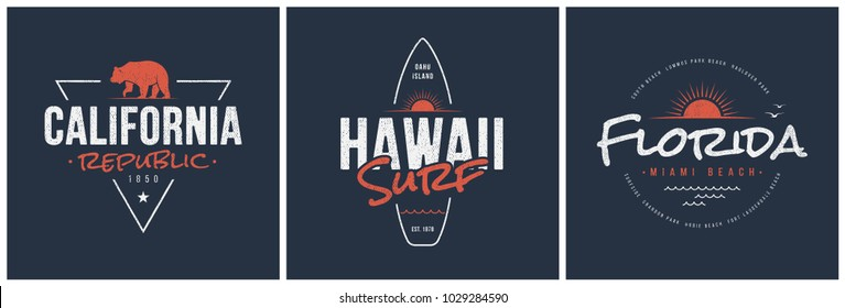California republic, Hawaii surf and Florida t-shirt and apparel vector designs, typography, prints, labels, posters. Global swatches.