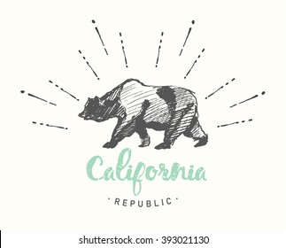 California Republic vintage emblem, hand drawn vector illustration, sketch