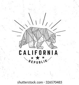 California Republic vintage hand drawn emblem bear with sunburst.