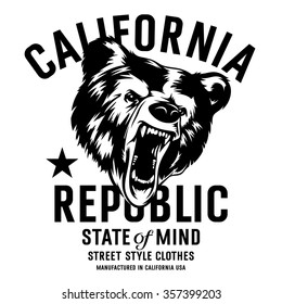 California Republic Vintage Typography With A Head Of Grizzly Bear T Shirt Print