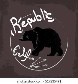 California republic,black bear typography t-shirt graphic,