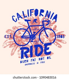 california ride - vintage bicycle typography print - tropical palm trees t-shirt