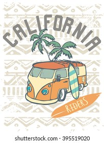 California  Riders label design for posters, t-shirts etc