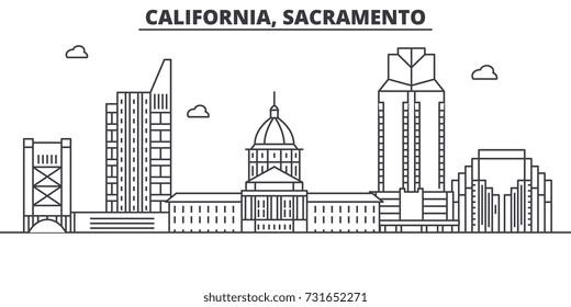 California  Sacramento architecture line skyline illustration. Linear vector cityscape with famous landmarks, city sights, design icons. Landscape wtih editable strokes