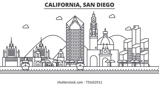 California San Diego architecture line skyline illustration. Linear vector cityscape with famous landmarks, city sights, design icons. Landscape wtih editable strokes
