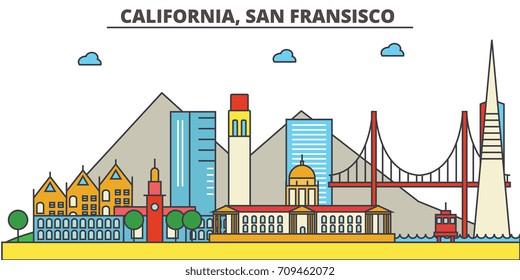 California, San Francisco.City skyline: architecture, buildings, streets, silhouette, landscape, panorama, landmarks, icons. Editable strokes. Flat design line vector illustration concept.