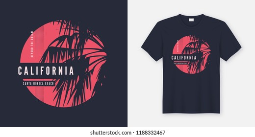 California Santa Monica t-shirt design with palm trees silhouette. Global swatches.