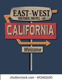 California sign.Retro.Fashion Slogan for T-shirt and apparels graphic vector Print.