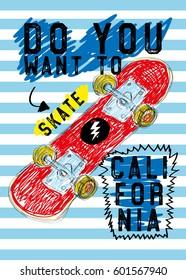 california skateboard,t-shirt print poster vector illustration