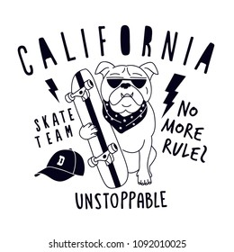 California skater dog vector print. Funny graphic design.