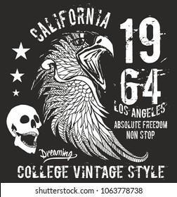 California skull and eagle graphic design vector art