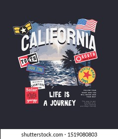 California slogan with badges on sea background