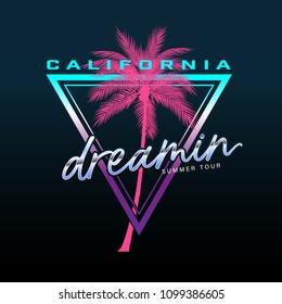 California slogan, Summer beach typography, tee shirt graphic, slogan, printed design. t-shirt printing and embroidery apparel.