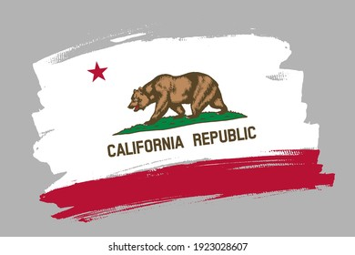 The California state flag, USA. American state  banner brush concept. Horizontal vector Illustration isolated on gray background.