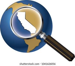 California State Map Enlarged on Globe with Magnifying Glass