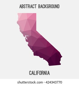 California state map in geometric polygonal style.Abstract tessellation,modern design background. Vector illustration EPS8