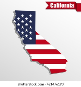 California  State map with US flag inside and ribbon
