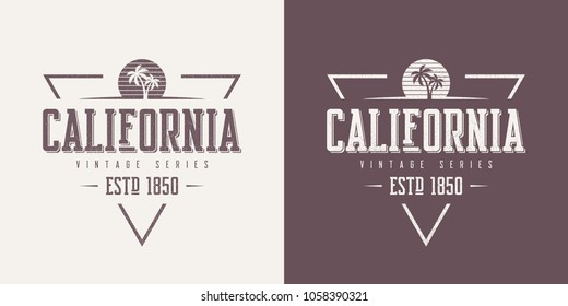 California state textured vintage vector t-shirt and apparel design, typography, print, logo, poster. Global swatches.