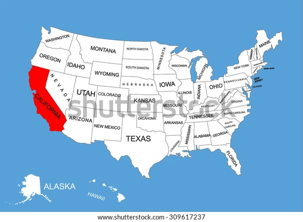 California State Usa Vector Map Isolated Stock Vector ... on california on world map, california on map of north america, california counties map, california cities map, california maps with it on, california on europe map,