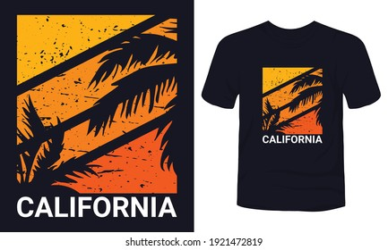 """""""CALIFORNIA"""" summer beach t-shirt template."""
