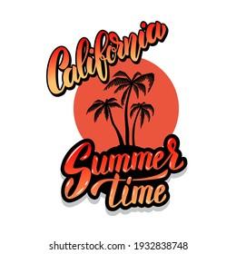 California summer time. Emblem template with waves and palms. Design element for poster, card, banner, sign, emblem. Vector illustration