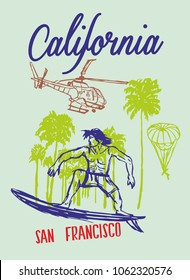 California Summertime palm beach surfer graphic design vector art