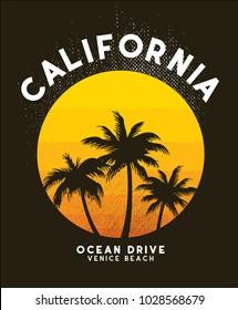 california sunset t shirt design vector file