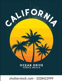 california sunset t shirtdesign vector file