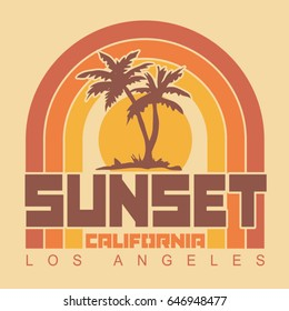 California sunset typography, tee shirt graphics, vectors