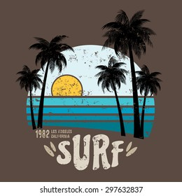 California surf illustration, vectors, t-shirt graphics surfing apparel t shirt fashion design,  summer beach palm tree tee graphic, typographic art,  state west coast travel souvenir