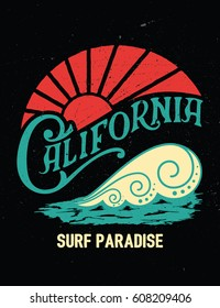 California surf paradise slogan. Surf graphic. Typography design for t-shirt,poster, flyer and other print.