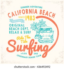 California Surf print for tee or apparel. Retro artwork with summer elements and handwritten typography. Old school vector graphic for fashion and printing. Vintage effects are easily removable.
