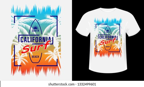 44242f0d8 California Surf print t-shirt. The slogan on the backdrop of palm trees and