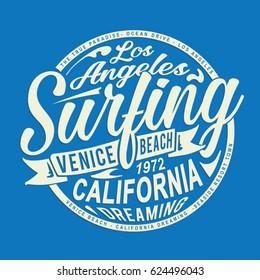 California surf sport typography, tee shirt graphics, vectors