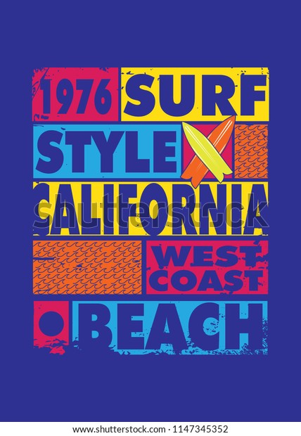 california surf style poster colorful apparel distressed waves