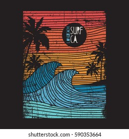 California surf typography, tee shirt graphics, vectors