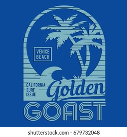 California surf typography, tee shirt graphics, vectors