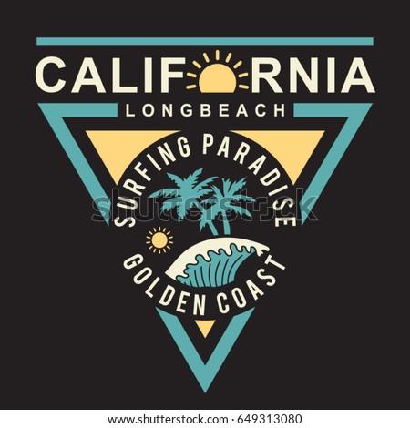 5778ec9f California Surf Typography Tee Shirt Graphics Stock Vector (Royalty ...