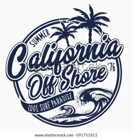 5778ec9f California Surf Typography Tee Shirt Graphics Stock Vector (Royalty ...